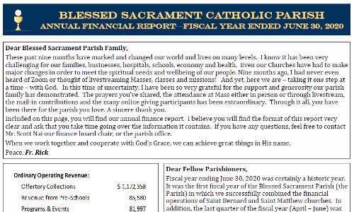 2019-2020 Fiscal Year Blessed Sacrament Parish Financial Report